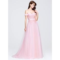 Vestidos princesa/ Formato A Off-the-ombro Sweep/Brush trem Tule Vestido de baile com Beading Apliques de Renda lantejoulas