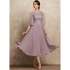 A-Line Scoop Neck Tea-Length Chiffon Lace Cocktail Dress (016237001)