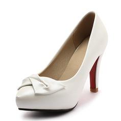 De mujer Cuero Tacón stilettos Salón Plataforma Cerrados con Bowknot zapatos