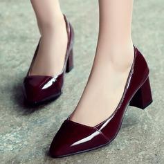 Donna Pelle verniciata Tacco spesso Stiletto Punta chiusa scarpe
