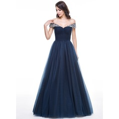 Ball-Gown Off-the-Shoulder Floor-Length Tulle Prom Dresses With Ruffle Beading (018109301)