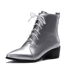 De mujer Cuero Tacón ancho Botas al tobillo zapatos (088092729)
