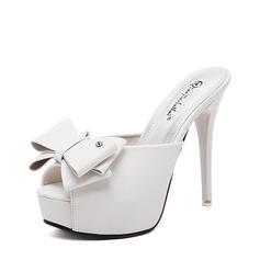 Femmes PU Talon stiletto Escarpins Plateforme Chaussons avec Bowknot chaussures