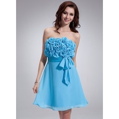 Empire Strapless Short/Mini Chiffon Homecoming Dress With Ruffle Flower(s) Bow(s)