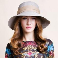 Señoras' Elegante Rafia paja Bombín / cloché Sombrero