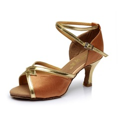Women's Satin Heels Sandals Latin With Ankle Strap Dance Shoes (053053117)