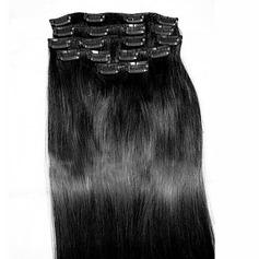 5A Jungfrau / Remy Gerade Menschliches Haar Haarverlängerungen zum Anklammern 8PCS 100g