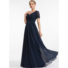 A-Line V-neck Floor-Length Chiffon Bridesmaid Dress (007224085)