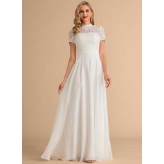 Corte A Cuello alto Hasta el suelo Gasa Encaje Vestido de novia