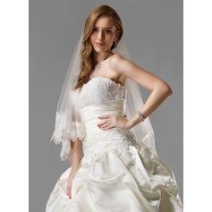 Einschichtig Walzer Braut Schleier mit Spitze Saum