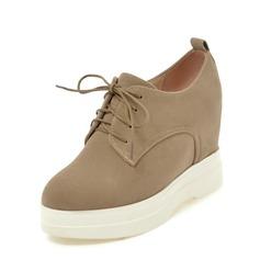 Naisten Mokkanahka Wedge heel Kiilat jossa Nauhakenkä kengät