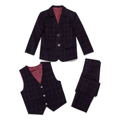 gutter 3 stykker Plaid Suits til ringbærere /Side Boy Suits med Jakke vest Bukser (287199777)