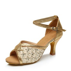 Women's Leatherette Lace Heels Sandals Latin With Ankle Strap Dance Shoes (053107714)