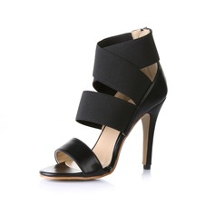 Leatherette Cone Heel Peep Toe Sandals With Zipper