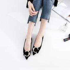 Donna Camoscio Senza tacco Ballerine Punta chiusa con Fibbia scarpe