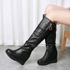 Veloursleder Kunstleder Keil Absatz Flache Schuhe Absatzschuhe Keile Flip Flops mit Reißverschluss Zuschnüren Schuhe