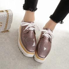 Kvinner Lær Kile Hæl Kiler med Glitrende Glitter Blondér sko