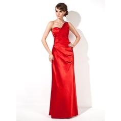 Sheath/Column One-Shoulder Floor-Length Charmeuse Evening Dress With Ruffle Beading
