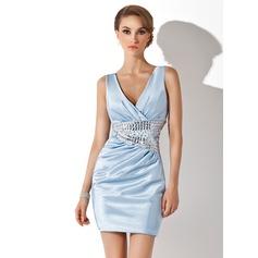Sheath/Column V-neck Short/Mini Charmeuse Cocktail Dress With Ruffle Beading