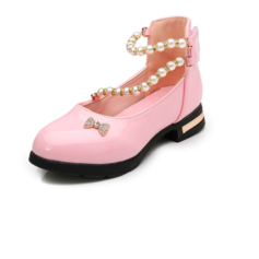 Girl's Leatherette Flat Heel Closed Toe Flats With Bowknot Imitation Pearl Rhinestone Velcro