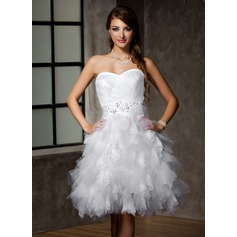 A-Line/Princess Sweetheart Knee-Length Tulle Wedding Dress With Lace Beading Sequins Bow(s) Cascading Ruffles