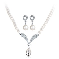 Exquisite Alloy Rhinestones With Imitation Pearl Rhinestone Jewelry Sets