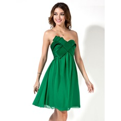 Empire Sweetheart Knee-Length Chiffon Satin Homecoming Dress
