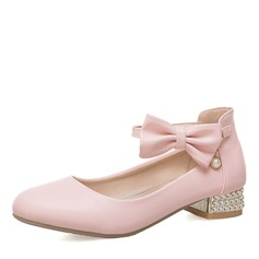 Women's Leatherette Chunky Heel Closed Toe Mary Jane With Bowknot shoes