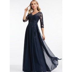 A-Line V-neck Floor-Length Chiffon Prom Dresses (018221169)