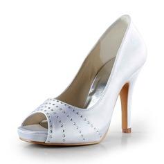 Frauen Satin Kegel Absatz Peep Toe Plateauschuh Sandalen mit Strass