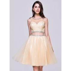Vestidos princesa/ Formato A Decote redondo Coquetel Tule Vestido de boas vindas com Beading lantejoulas