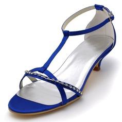Kvinnor Satäng Cone Heel Sandaler med Spänne Strass
