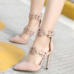 Donna Similpelle Tacco a spillo Punta chiusa Stivali Stivali alla caviglia con Rivet Fibbia scarpe
