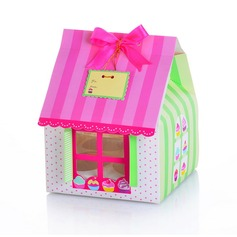 Cute House Shaped Cuboid Cupcake Boxes With Ribbons (Set of 12)