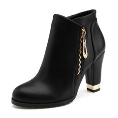 Women's PU Chunky Heel Pumps Closed Toe Ankle Boots With Chain shoes