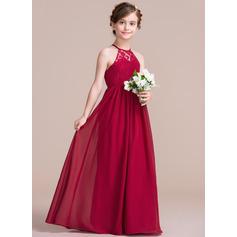 A-Linie/Princess-Linie U-Ausschnitt Bodenlang Chiffon Kleid für junge Brautjungfern (009097063)