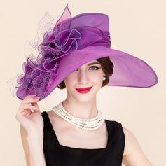 Señoras' Elegante Organdí/Tul Bombín / cloché Sombrero