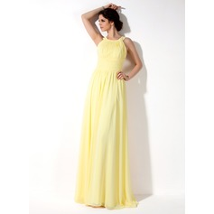 A-Line Halter Neck Floor-length Chiffon Bridesmaid Dress (007022521)