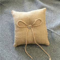 Simple Ring Pillow in Cloth With Bow/Rhinestones/Lace