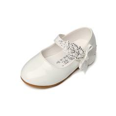 Muchacha Punta Cerrada Kunstleder Talón plano Planos Zapatos de niña de las flores con Bowknot