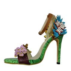 De mujer PU Tacón stilettos Sandalias Salón Encaje con Arco del satén Material Block zapatos
