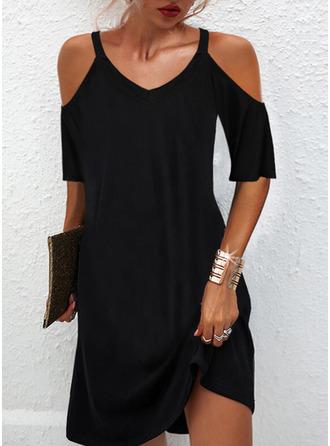 Solide Shiftjurken 1/2 Mouwen Mini Zwart jurkje Casual Tunieken ()