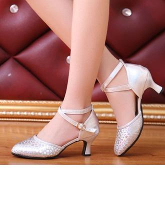 De mujer Cuero Sandalias Danza latina Sala de Baile Salsa Fiesta con Tira de tobillo Zapatos de danza