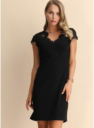 レース 固体 シフトドレス 半袖 ミニ リトルブラックドレス カジュアル ファッションドレス