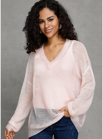 V-Neck Casual Sexy Solid Sweaters