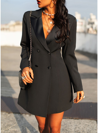 Solid Sheath Long Sleeves Mini Little Black Casual Elegant Dresses