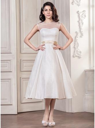 A-Line/Princess Scoop Neck Tea-Length Lace Wedding Dress With Sash Bow(s)