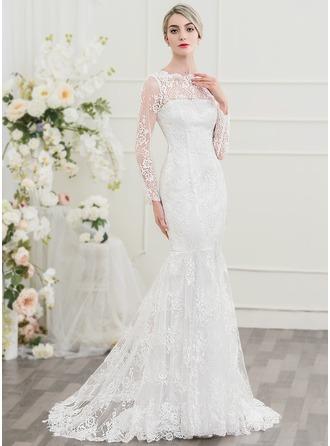 Trompete/Sereia Decote redondo Sweep/Brush trem Renda Vestido de noiva