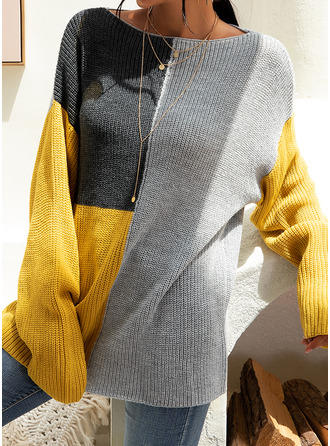 Round Neck Casual Color Block Chunky knit Ribbed Sweaters