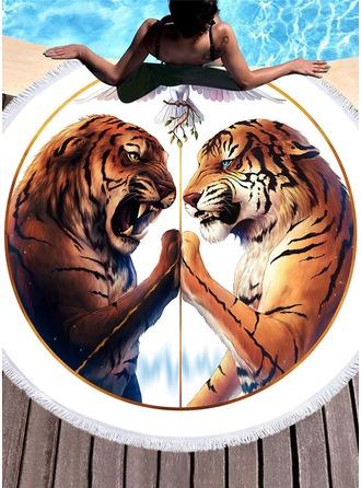 Patrón del tigre de gran tamaño/redondo toalla de playa